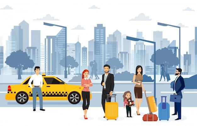 Les gens attendent un taxi dans la rue. de nombreux passagers attendent un taxi dans un style plat.