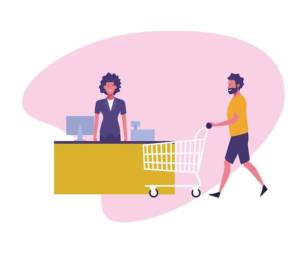 Les gens au supermarché