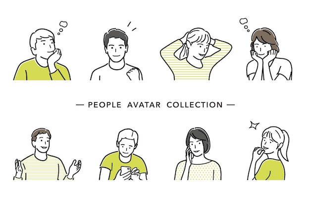 Les gens avatar vector line drawing collection ensemble de jeunes hommes et femmes illustration simple à plat
