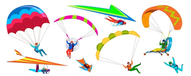 Les gens d'aventure de parachutisme sautent avec un parachute dans le ciel