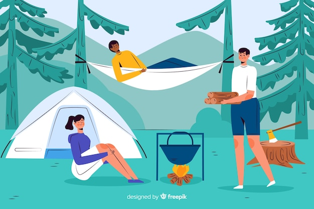 Les gens aventureux camping design plat
