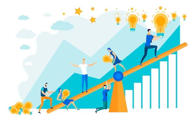 Les gens sur la balançoire travaillent ensemble pour atteindre l'objectif.