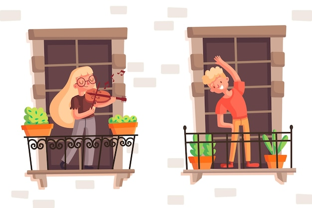 Gens sur le balcon, jouer au violet et faire du sport