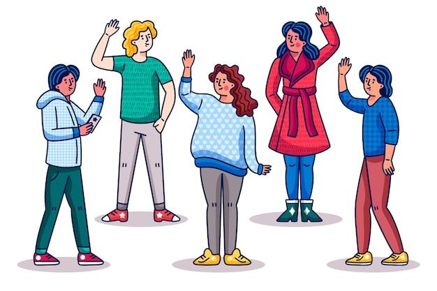 Gens de la bande dessinée agitant la main