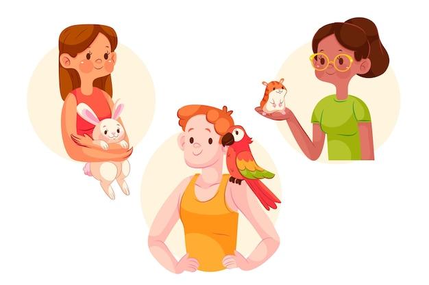 Gens de bande dessinée avec des animaux de compagnie illustrés