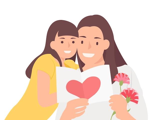 Les gens de la bande dessinée ont une conception de personnage pour la fille et la maman de la fête des mères heureuses qui regardent joyeusement la carte de célébration. idéal pour la conception imprimée et web.