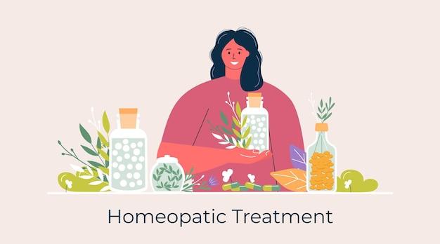 Les gens de la bande dessinée ont préparé des pilules homéopathiques naturelles biologiques dans des bocaux en verre. bannière de traitement homéopathie, page de destination, médecine alternative à base de plantes, pharmacie, complément alimentaire. vecteur plat