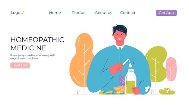 Les gens de la bande dessinée ont préparé des pilules homéopathiques naturelles biologiques dans des bocaux en verre. traitement homéopathique, page de destination, médecine alternative à base de plantes.