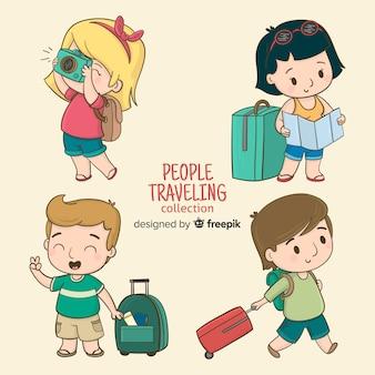 Gens de bande dessinée voyagent ensemble