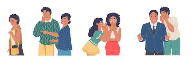 Les gens bavardent, chuchotent en pointant du doigt une fille triste qui passe, illustration vectorielle plane isolée. personnages masculins et féminins répandant des rumeurs.