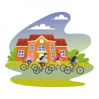 Les gens à bicyclette avec accessoires