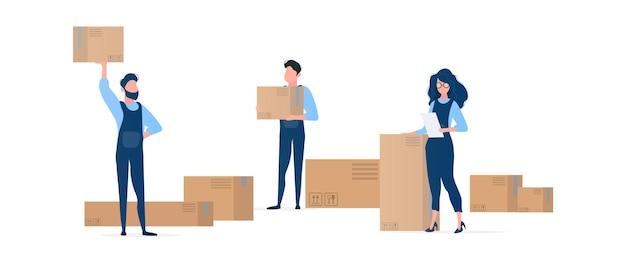 Les gens avec des boîtes. les déménageurs tiennent des boîtes en carton. la fille avec la liste entre ses mains. élément de design sur le thème de la livraison et du déménagement. isolé. .