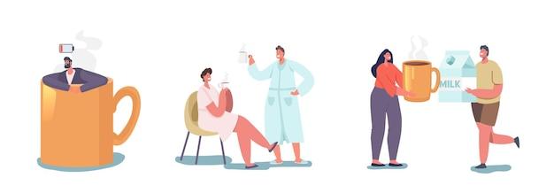 Les gens boivent le concept de café du matin. pause-café des employés au bureau. homme d'affaires fatigué assis dans une énorme tasse. rafraîchissement du matin de personnages de couple marié masculin et féminin. illustration vectorielle de dessin animé