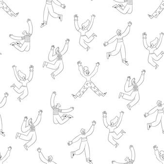 Des gens branchés et amusants qui sautent en l'air avec les mains levées. motif anthropomorphe sans soudure