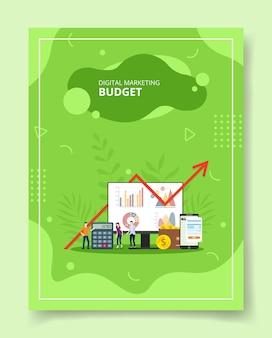 Gens de budget de marketing numérique debout autour de smartgphone de portefeuille de calculatrice d'ordinateur pour le modèle de livres de flyer de bannières