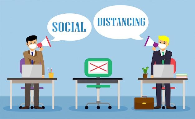 Les gens de bureau d'affaires maintiennent une distance sociale. nouvelle normale au travail. covid-19