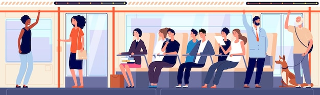 Les gens en bus. transports urbains publics modernes à l'intérieur, étudiant assis et femme d'affaires. foule se déplaçant vers l'illustration vectorielle de destination. passager de transport, bus de ville, voyage de train urbain à l'intérieur
