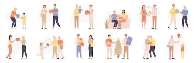 Les gens avec des cadeaux. divers personnages donnent et reçoivent des cadeaux, une surprise romantique, des personnes heureuses célébrant des vacances, un ensemble de vecteurs de dessins animés. anniversaire ou boîte de noël, l'homme et la femme ont des événements importants