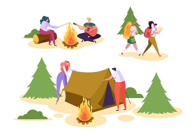 Les Gens Camping Forest Nature Set. Vecteur Premium
