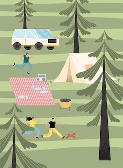 Gens camping scène paysage forestier