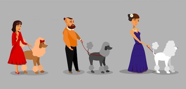 Gens avec caniche collection illustration vectorielle