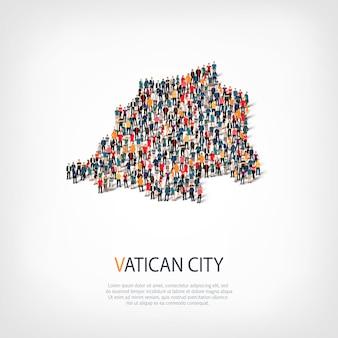 Les gens, la carte du vatican. foule formant une forme de pays.