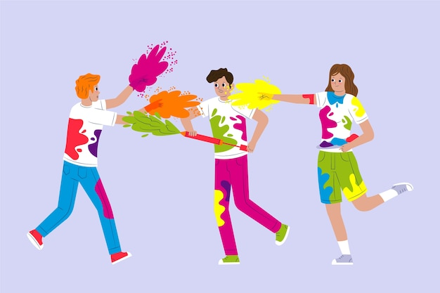 Les gens célébrant le thème illustré du festival holi