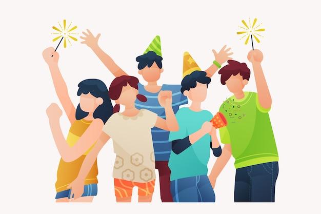 Les gens célèbrent ensemble