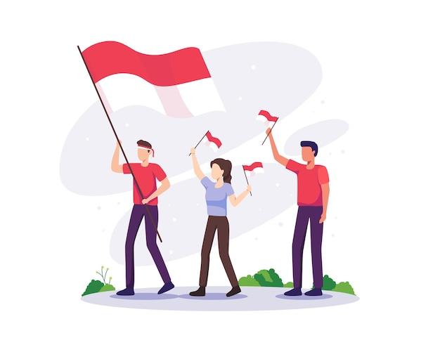 Les gens célèbrent le jour de l'indépendance. fête de l'indépendance de l'indonésie le 17 août. les gens célèbrent la fête nationale de l'indépendance en tenant le drapeau indonésien. illustration vectorielle dans un style plat