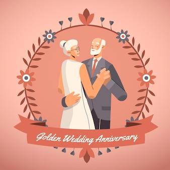 Les gens célèbrent leur anniversaire de mariage en or
