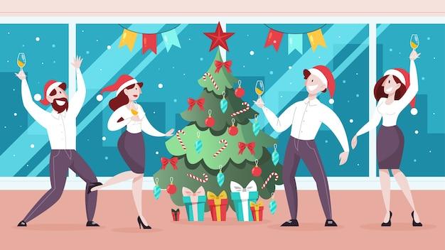 Les gens célèbrent le nouvel an et noël au bureau. fête d'affaires, personnage en chapeau de père noël. illustration en style cartoon
