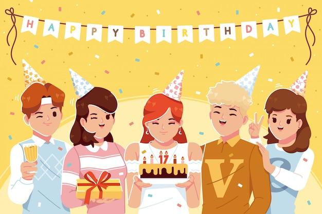 Gens, célébrer, anniversaire, fond