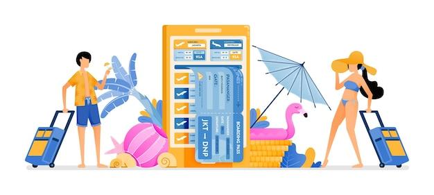 Les gens choisissent des billets d'avion pour les vacances d'été