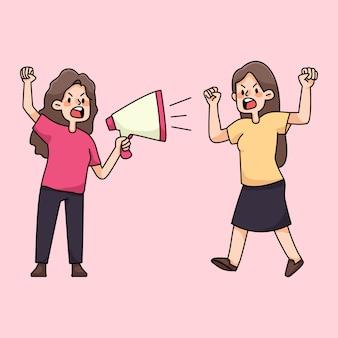 Gens en colère rassemblement protestation illustration de dessin animé mignon