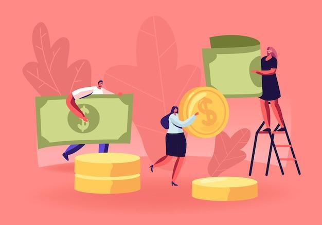 Les gens collectent et économisent de l'argent concept. illustration plate de dessin animé