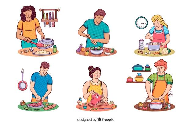 Les gens à la collection de cuisine