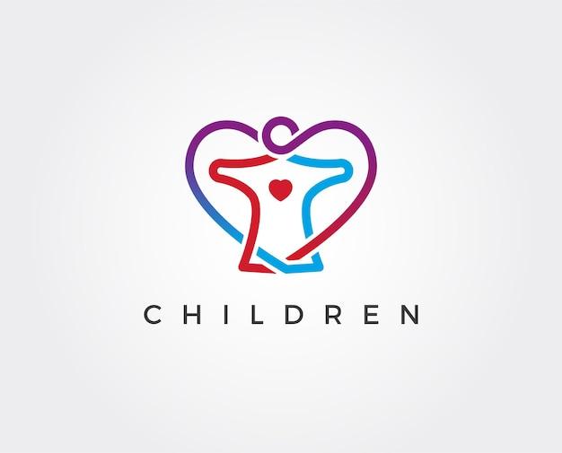 Gens colorés abstraits et modèle de logo en forme de coeur
