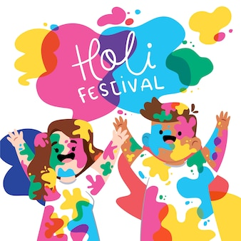 Gens colorés pour le festival de holi