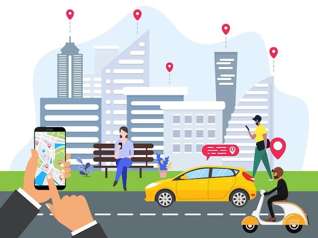 Les gens commandent le transport en ligne