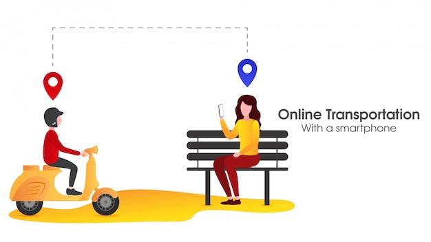 Les gens commandent un transport en ligne