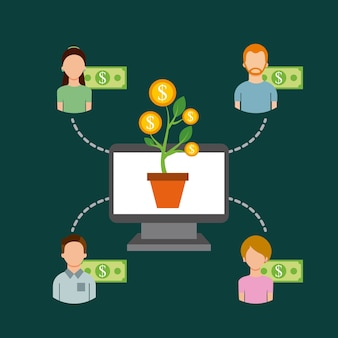 Les gens de la communauté de l'argent de l'ordinateur financer la collaboration