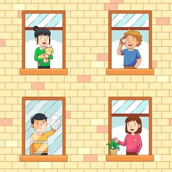 Les gens sur le concept de balcons