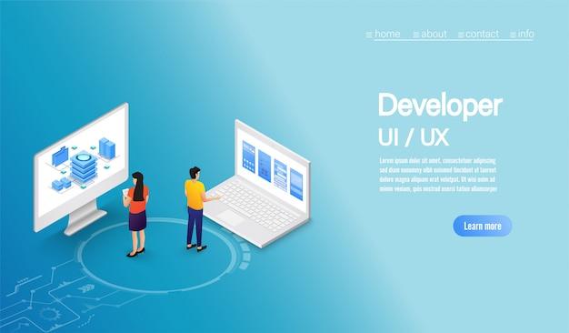 Gens de concept d'entreprise travaillant sur le développement ux de l'interface utilisateur avec ordinateur.