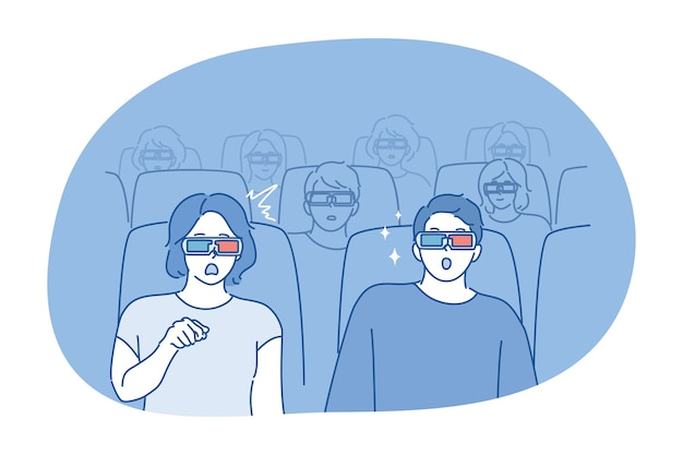 Gens, concept de film. jeune couple homme femme copine copain assis au cinéma ou au théâtre