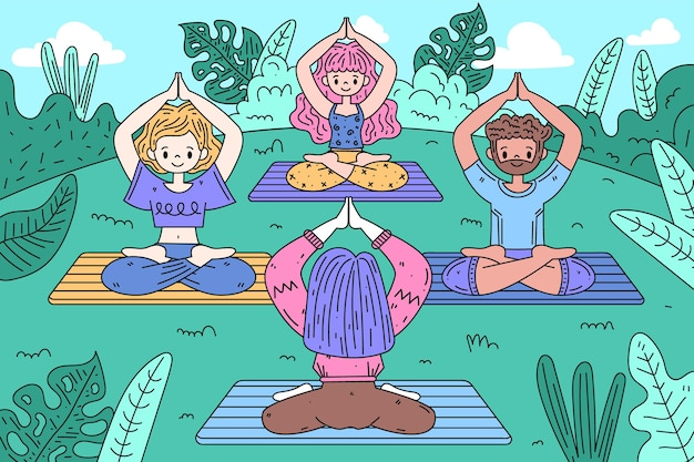 Gens de conception dessinés à la main faisant du yoga
