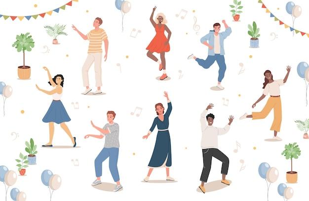 Gens sur la conception d & # 39; illustration de soirée dansante