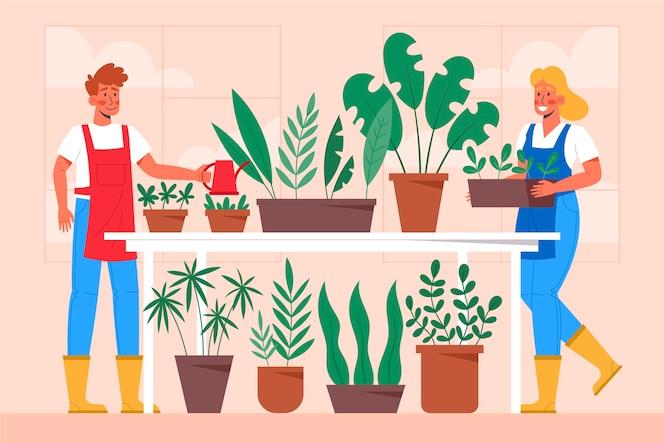 Les gens de conception plate jardiner ensemble