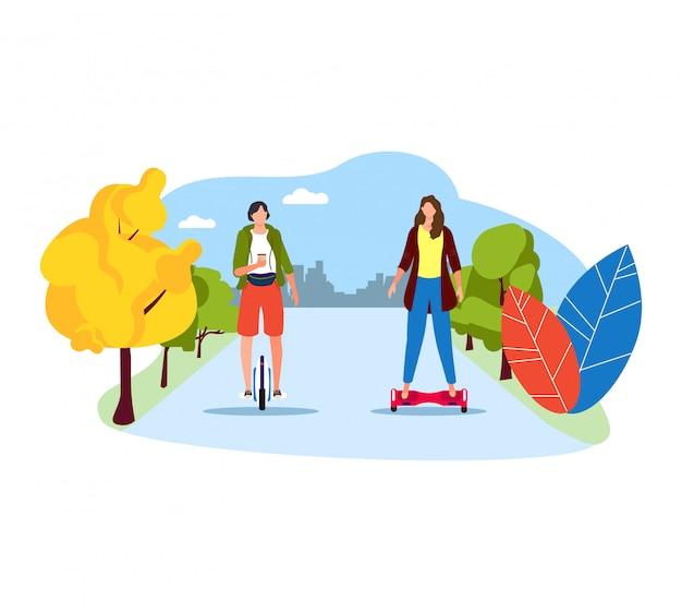 Les gens conduisent le transport électrique segway scooter auto équilibrage, personnage de femme marche parc en plein air sur blanc, illustration.