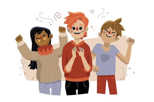 Gens avec des confettis célébrant ensemble