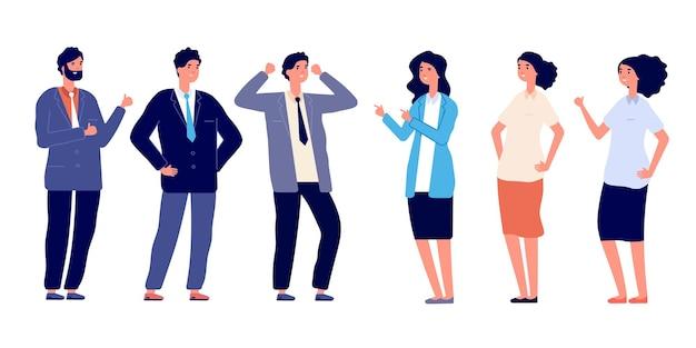 Des gens confiants. la victoire pose, les jeunes gars gagnent. groupe d'hommes femmes réussies, heureux gestionnaires souriants isolés jeu de caractères vectoriels. illustration pose des gens, personnage de succès, employé de la victoire